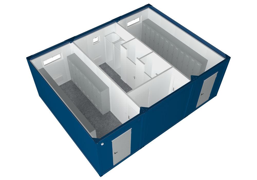 niebieskie kontenery socjalne pełniące funkcję szatni