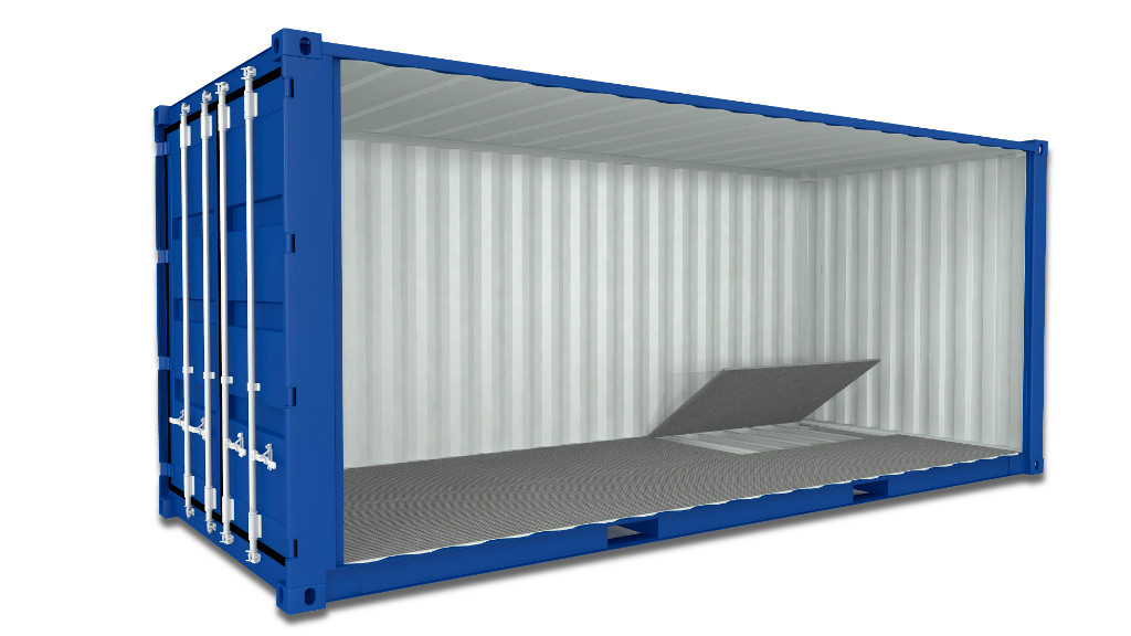 Container with floor drainage