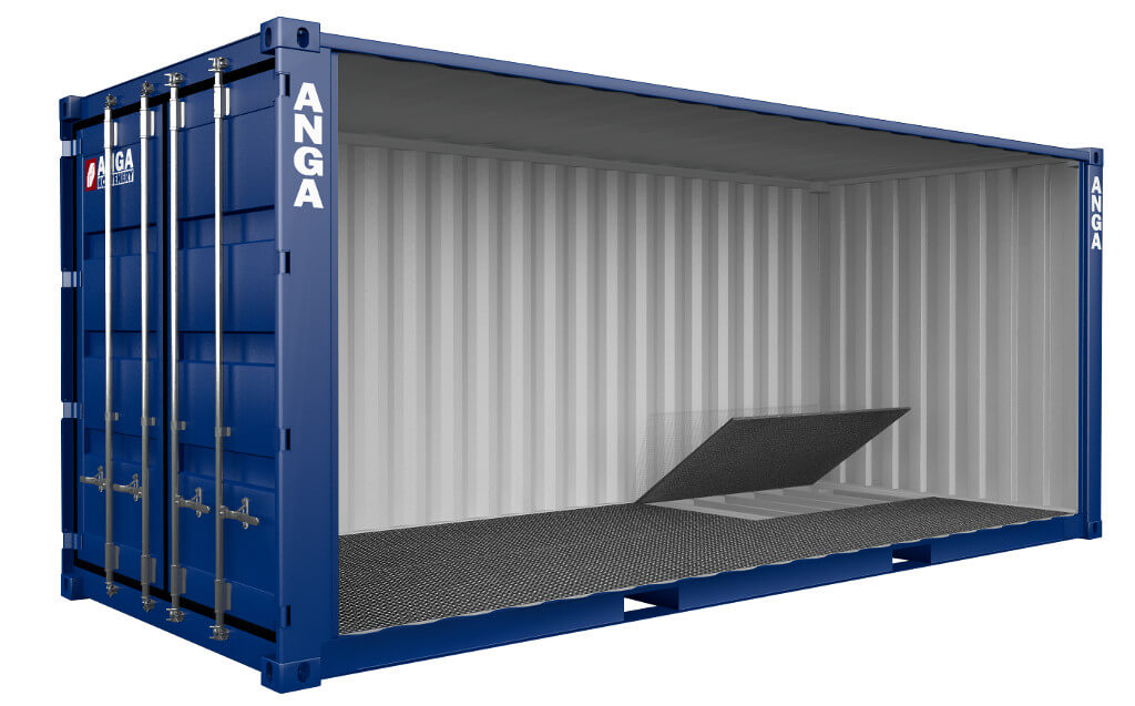 Storage container with drainage floor