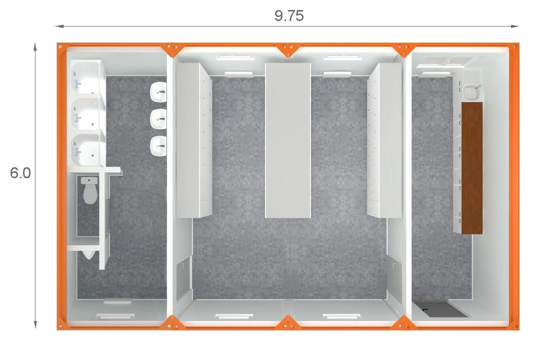 zaplecze kontenerów szatniowych - rzut