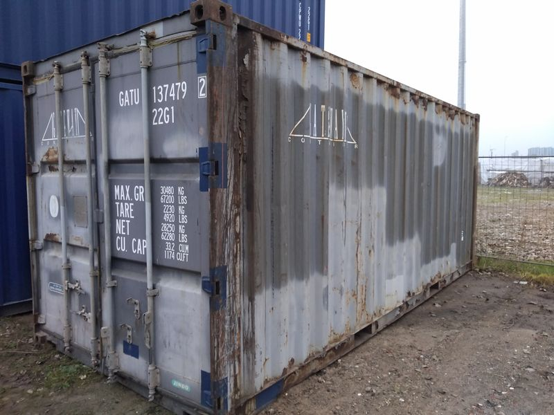 używany szary kontener ISO 20'