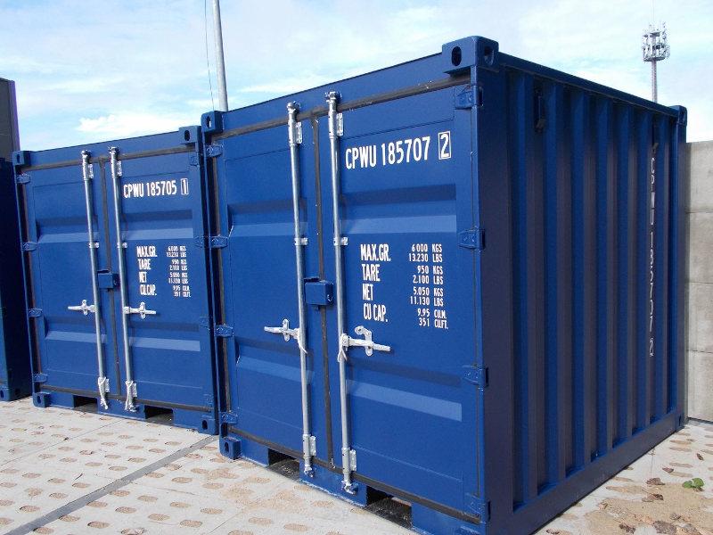 nowy niebieski kontener magazynowy 8 stóp